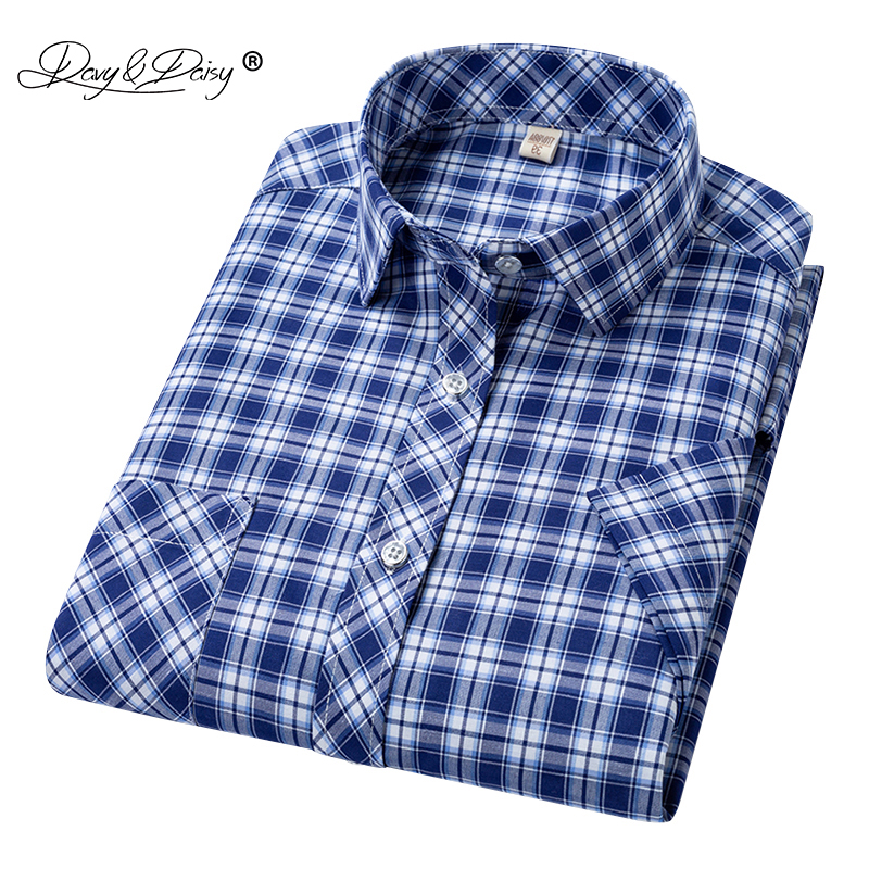 DAVYDAISY 2020 New Arrival Man Shirt Men Summer Short Sleeved Fashion Causal Classic Plaid Shirt Brand Men Clothes DS335