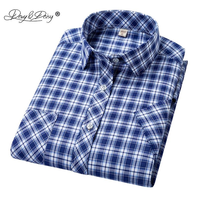 DAVYDAISY 2020 New Arrival Man Shirt Men Summer Short Sleeved Fashion Causal Classic Plaid Shirt Brand Men Clothes DS335
