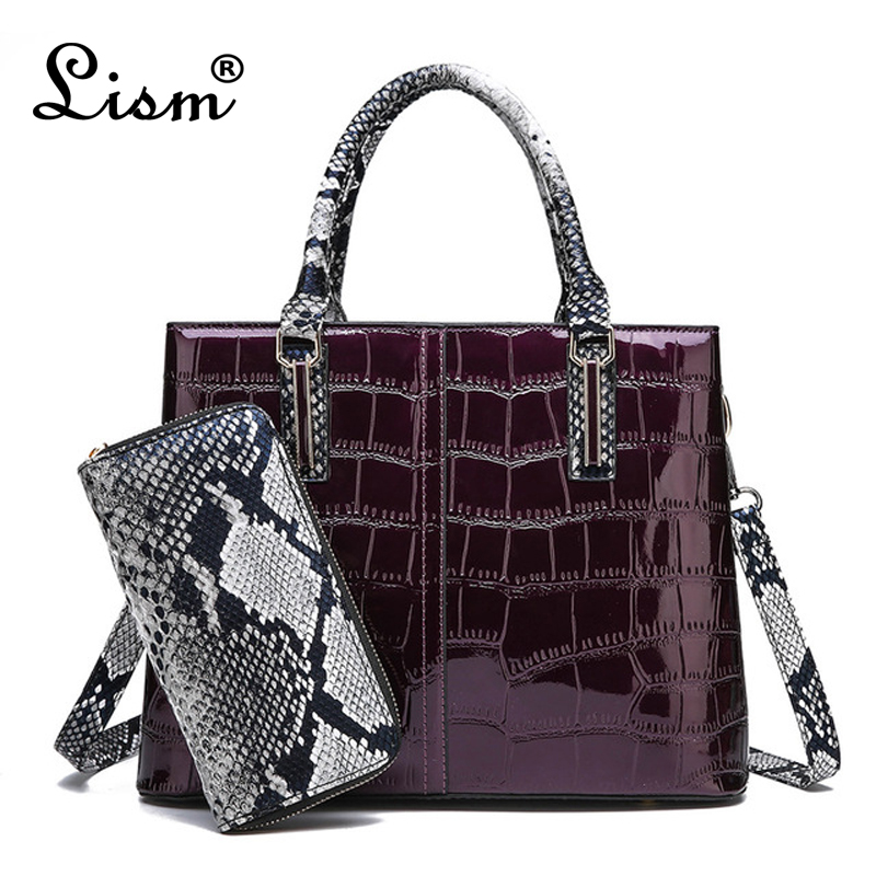 2019 New Patent Leather Handbag Luxury Crocodile Tote Bag Shoulder Bags Handbags Women Famous Brands Designer Sac A Main Femme