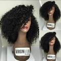 Clásico corto bob peluca 16 pulgadas rizado mongol del pelo rizado rizado pelucas llenas del cordón pelucas de pelo Humano para las mujeres negras pelucas lindas