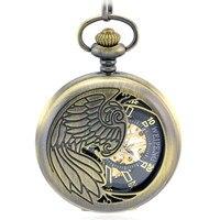 Automatic Mechanical Pocket Watch Men Skeleton Phoenix Hollow Bronze Vintage Hand Wind Clock Necklace Pocket Fob