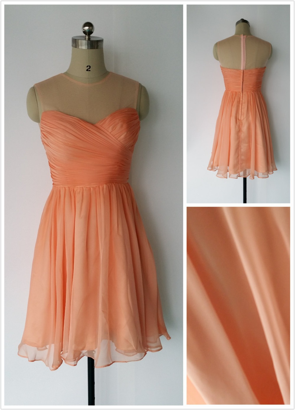 Peach Orange Light Green Custom Color Sleeveless Round