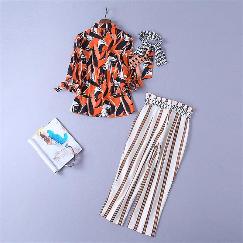 Manches Piste De Costumes Ensemble Np0170 Imprimer Shirt Pièces Deux Haute Vêtements Pantalon Longues 2019 Bande À Qualité Ensembles Femmes rX0qraA