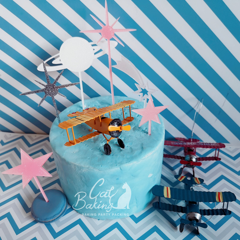 Red Blue Yellow Retro Airplane Cake Decorations Birthday Party Decorations for Baking Cute Gifts image