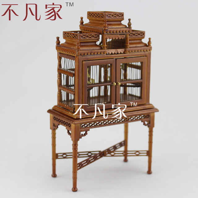 1/12 Scale Doll House Mini Furniture Dollhouse Miniature Cherry Wood Color  Birdcage