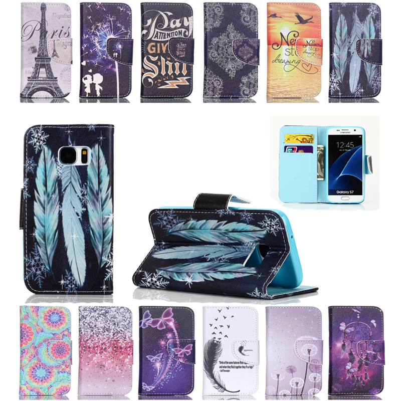 Painted TPU Inside For sumsung s7 samsumg s7Case Wallet Flip Leather coque for Samsung Galaxy s7 case with Card cover