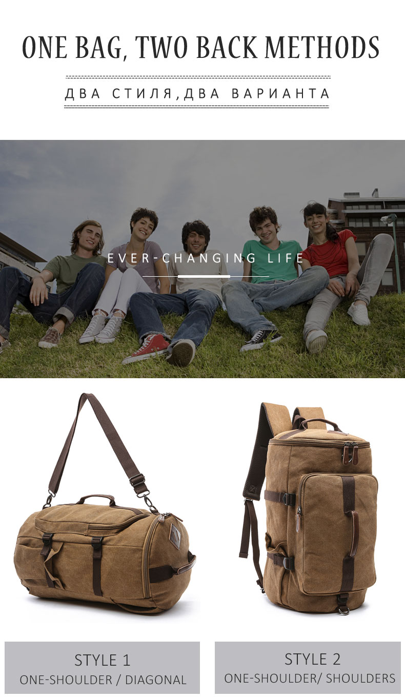 Men Large Capacity Cylinder Backpacks