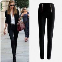Super Lady Zip Pencil Pants Women High Waisted Slim Stretch Leggings Trousers Fast Shipping Wholesale