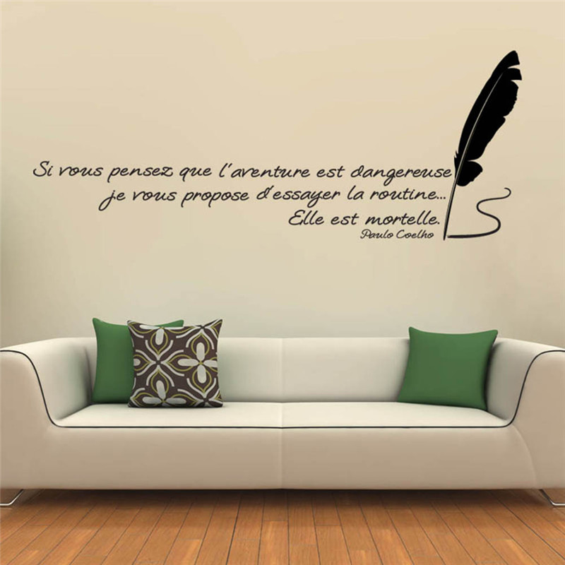 1pcs inspirational quotes wall stickers creative french for Living room quotes for wall