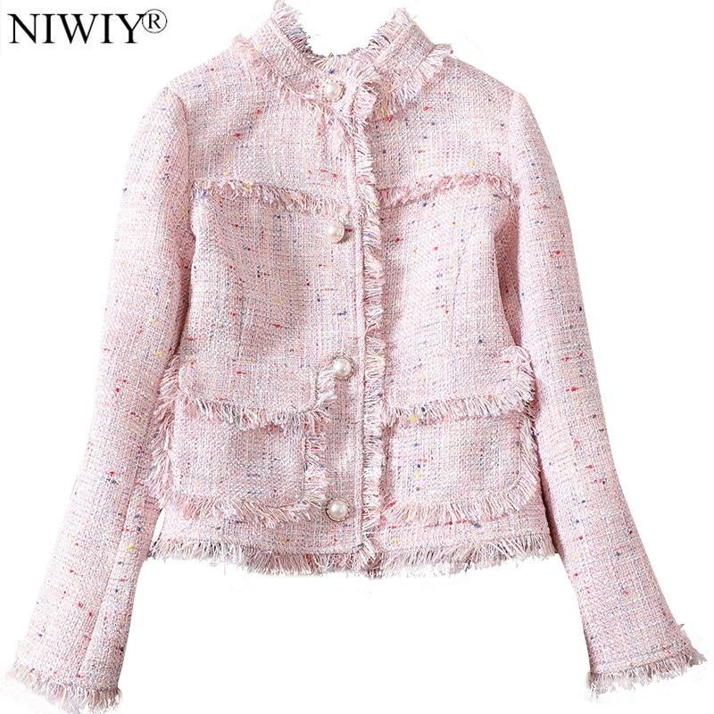 NIWIY Brand Ladies Grey Tweed Bomber Jacket Chaquetas Mujer Primavera 2019 Winter Jacket Women Cazadora Vaquera