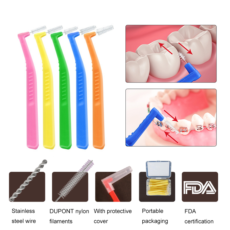 L Shaped Interdental Brush, 0.6mm-1.2mm Dental Floss Cleaners Orthodontic Wire Brush Toothbrush Oral Toothpick 20 Pieces