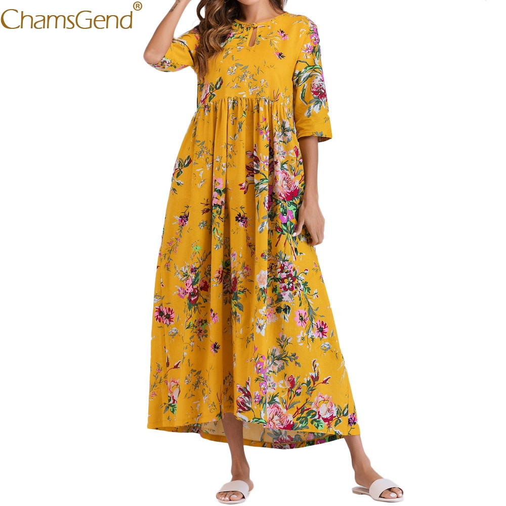 Summer dress women Boho Maxi Long Dress Casual Half Sleeve Ruched dresses woman party night Floral Cotton LooseFeb3