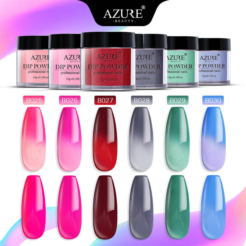 Azure Beauty Temperature Chameleon Nail Dip Powder Nail Art Changing Color Thermo Dipping Powder Glitter Nail Powder Decoration