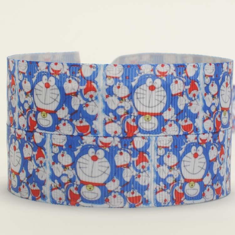 NEW free shipping 50 yards lively Doraemon head pattern printed grosgrain cartoon ribbon