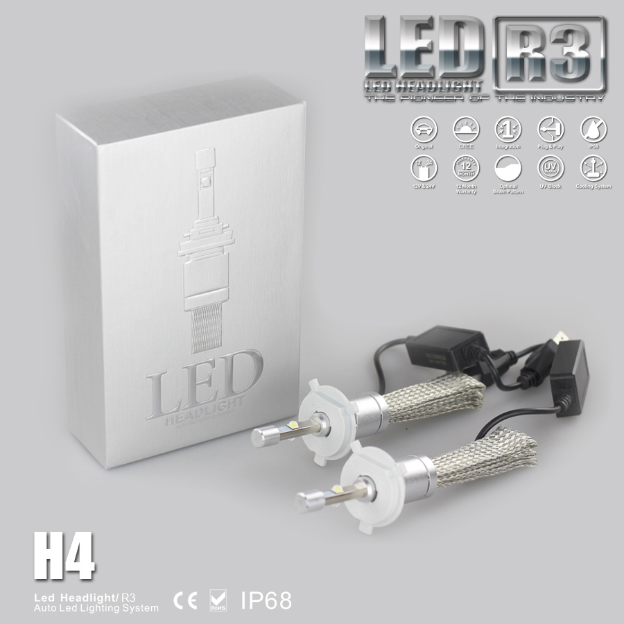 40W 4800LM R3 LED Headlight Kit H1 H3 H4 H7 H8 H9 H11 9005 9006 9012 9004 9007 H13 HB3 HB4 Car LED Headlight Bulb