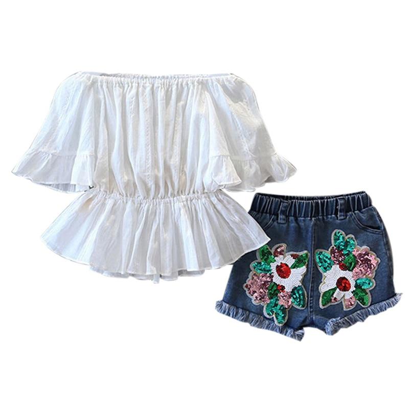 2018 NEW Summer Fashion Kids Girl Word Shoulder Shirt Denim Shorts Pants Set Waist Shirt Clothes Outfits Children Clothing P5