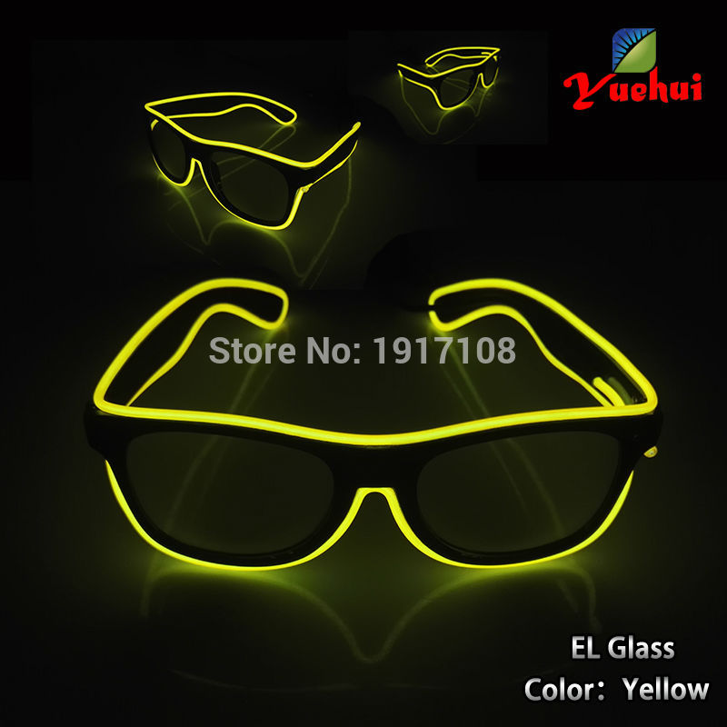 Hot 10 Color optional Fashion Sound active EL wire Sun Glasses Light up LED glasses Decor Gift For Festival Party Decoration