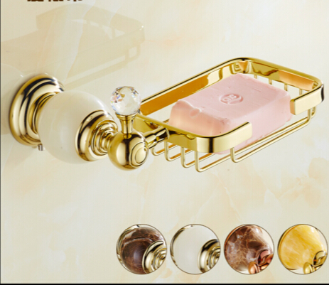 Wall mounted Crystal & Brass Gold Soap Dishes / Soap Holder/Soap Case Bathroom Accessories high quality bathroom shelf wholesale and retail bathroom accessories golden wall mounted crystal brass towel holder soap dishes toilet accessories