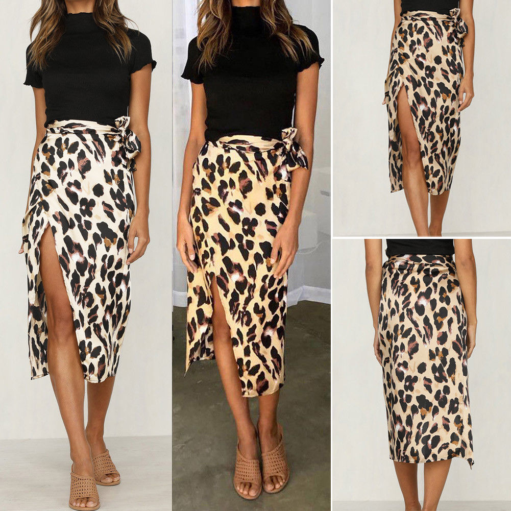 Women Skirt Leopard Print High Waist Polyester NEW Ladies Sexy Fashion Summer