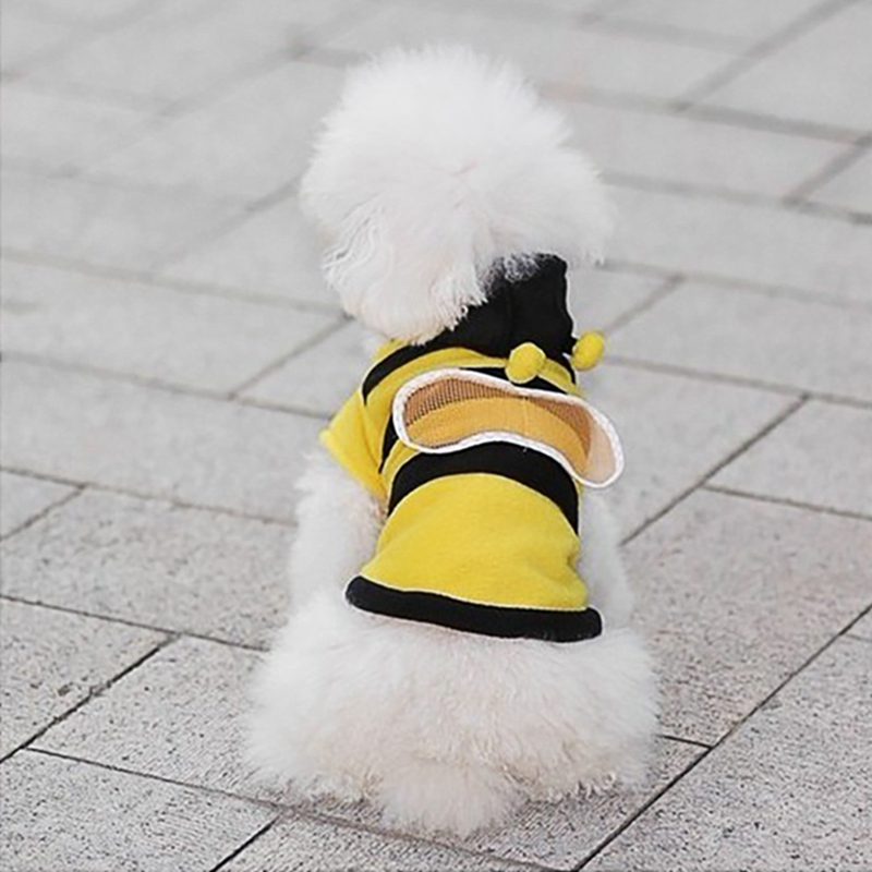 Pet Dog Clothes Hoodies Bee-Shape Coat Soft Cotton Dog Clothing Black And Yellow Dog Novel Shirt For Puppy