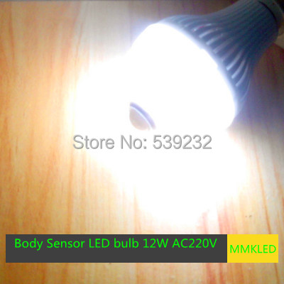 12W E27 warm white/White Light Body Infrared Sensor PIR Motion Sensor Detection LED Lamp Bulbs AC220V