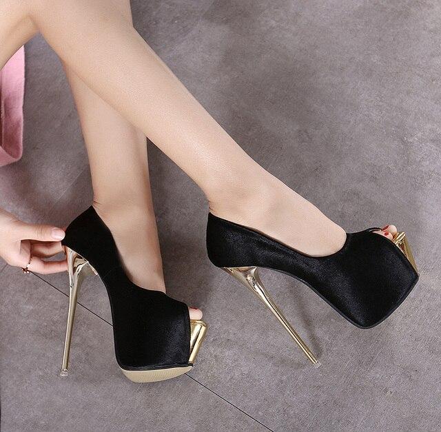 6c1f73846 Moda feminina bombas sandálias Sexy de salto fino plataforma OpenToe sapatos  de salto alto clássicas mulheres