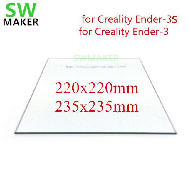 SWMAKER 220/235mm Borosilicate Glass Bed 3mm /4mm Thickness For Creality Ender-3/3S 3D Printer Part Mat Surface Heated Bed