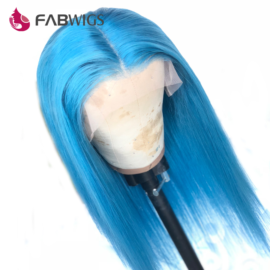 Fabwigs Blue Full Lace Human Hair Wigs Pre Plucked with Baby Hair Transparent Lace Wigs For Women Brazilian Remy Hair Sky Blue
