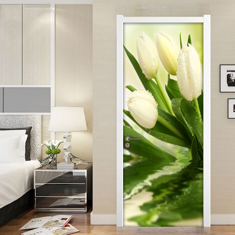 Modern 3D Photo Wallpaper For Walls Roll Tulips Flower Living Room Bedroom Door Decoration Mural Sticker Wall Paper Flowers PVC blue earth cosmic sky zenith living room ceiling murals 3d wallpaper the living room bedroom study paper 3d wallpaper