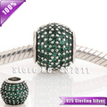 S925 Sterling Silver Charm Bead with Dark Green Pave Ball Cz Crystals Fits European Style Jewelry Bracelets & Necklaces LW170G