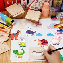 Baby joonistamine mänguasjad komplekti pliiatsid puidust värvimisnõukogu lapsed Creative Doodles malli varajase õppe haridus Toy lastele