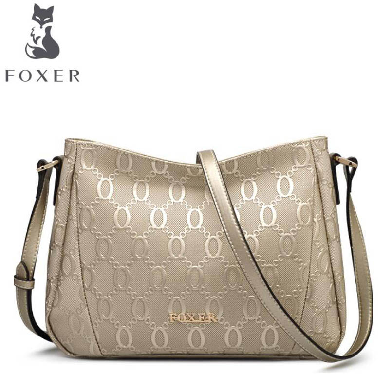 FOXERブランドレディースバッグファッションチェーンエンボス牛革クロスボディバッグメッセンジャーバッグ用女性女性ショルダーバッグ