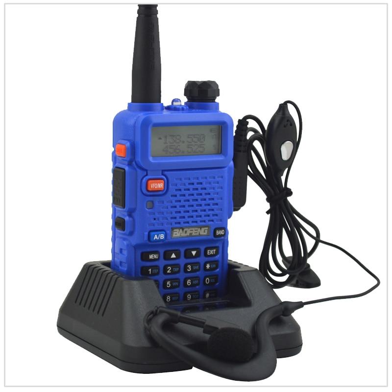 Blue Baofeng 5R Radio Dualband UV-5R Walkie Talkie Dual Display 136-174/400-520MHz Two Way Radio With Free Earpiece BF-UV5R