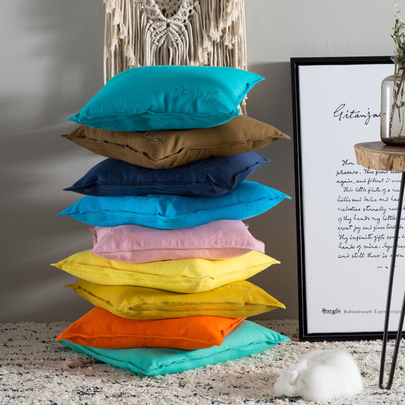 Table & Sofa Linens Candy Colors 100%cotton Embroidery Cushion Cover Pillow Cover Yellow Pink Blue Pillow Case Home Decorative Sofa Throw Pillows Street Price