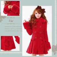 Princess Sweet Lolita Coat Winter Clothing Woolen Cloth Coat Dress Japanese Sweet Princess Female Long Woollen