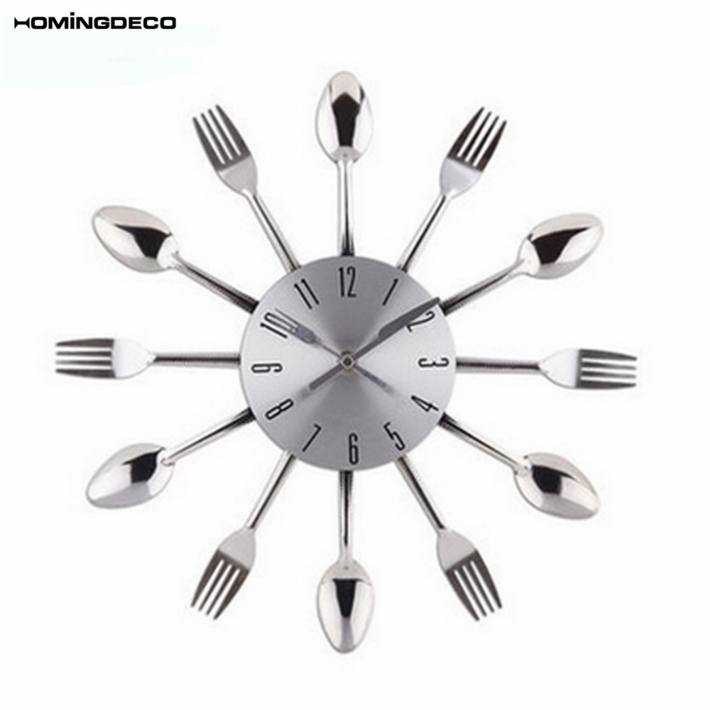 US $11.57 37% OFF Homingdeco 3D digital wall clock kitchen Modern design  Circular Knife Fork pattern Wall Clocks home decor Sliver 2018-in Wall  Clocks ...