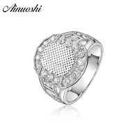 AINOUSHI Fashion 925 Sterling Silver Wedding Engagement Oval Rings Male Silver Anniversary Party Rings Gifts Jewelry pero llama