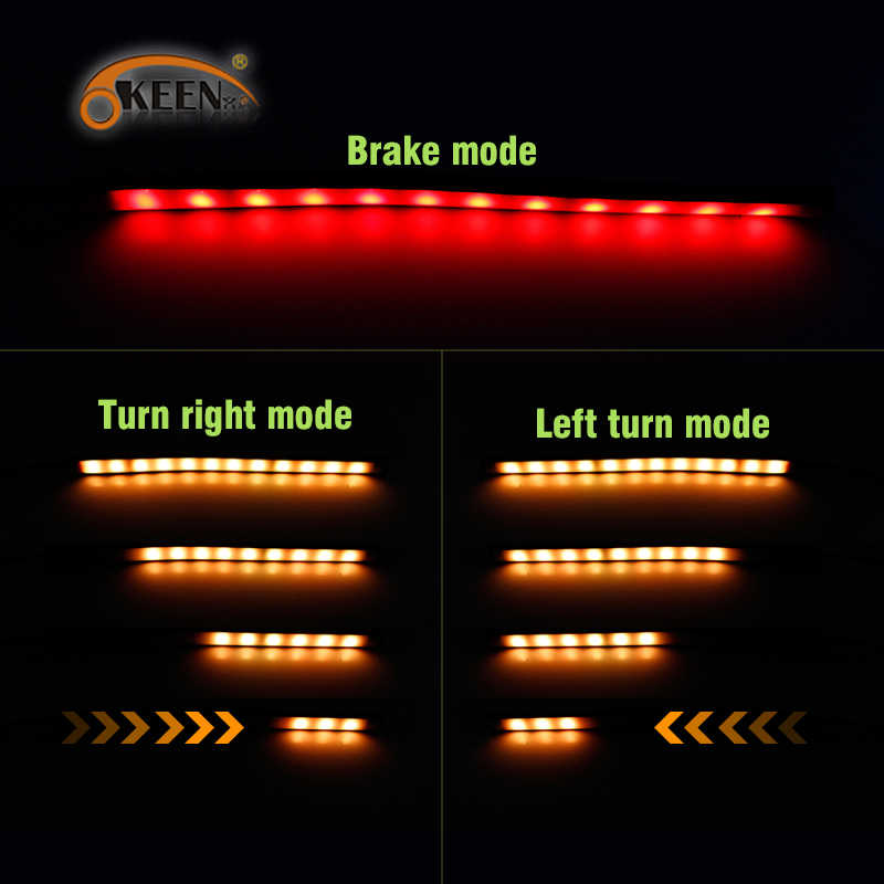 Okeen 23cm Red Amber Rgb Led Motorcycle Brake Tail Light Sequential Running Strip Turn Signal Integrated Led Stop Light Strip