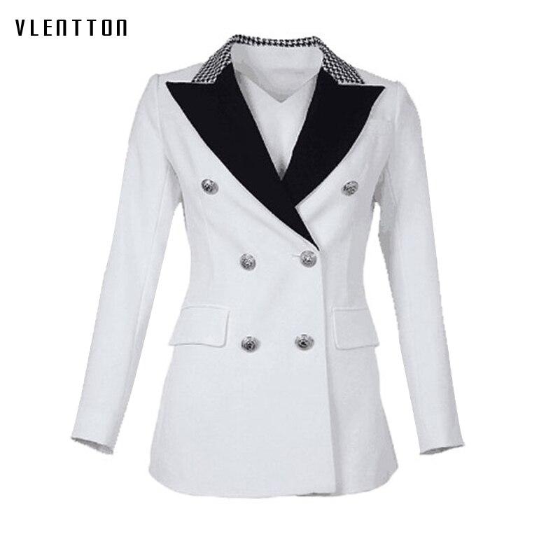 High Quality Black White Women Blazer Jacket Outerwear Double Breasted Plaid Collar OL Office Ladies Blazers Feminino Plus Size