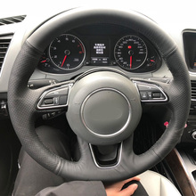 цена Free Shipping High Quality cowhide Top Layer Leather handmade Sewing Steering wheel covers protect For Audi Q3 Q5 в интернет-магазинах