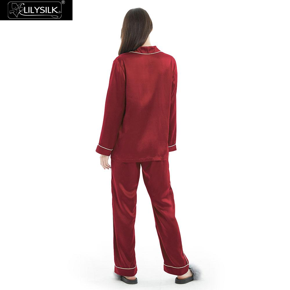 Image 2 - LilySilk 100 Silk Pajamas Set Gold Piping Silk Women Full Length 22 momme Mulberry Free ShippingPajama Sets   -
