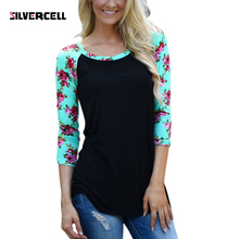 Women Ladies Floral Striped T-shirt Casual Slim 3/4 Sleeve Shirt Tops Crew Neck Tee Shirt
