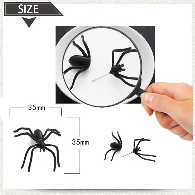 Halloween Decoration 1Piece 3D Creepy Black Spider Ear Stud Earrings for Haloween Party DIY Decoration Home Decor 1