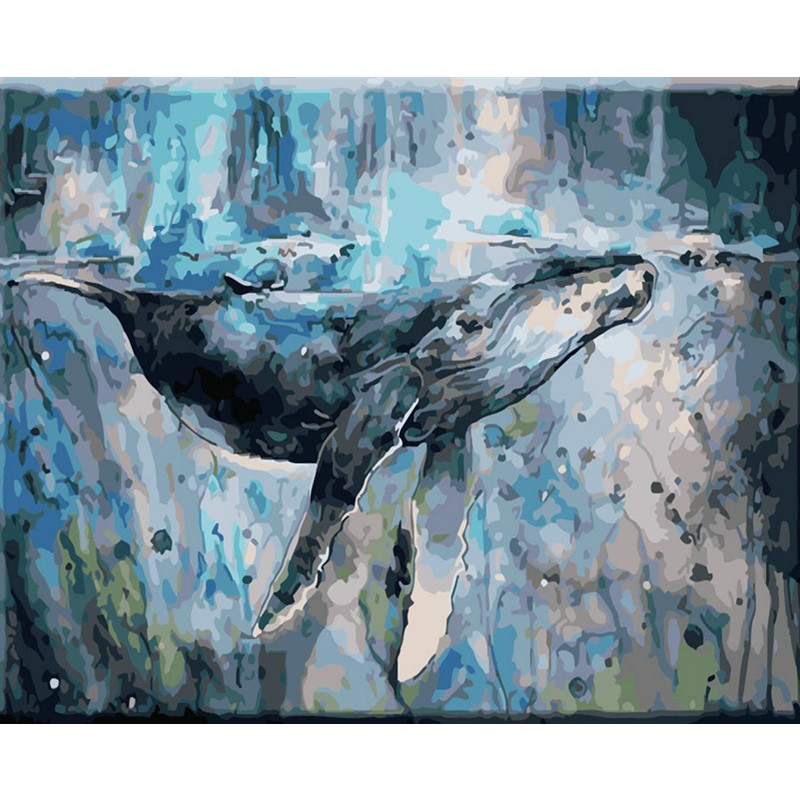 New Arrival  Painting By Numbers DIY Dropshipping 40x50 50x65cm Whales in the sea Animal Canvas Wedding Decorati