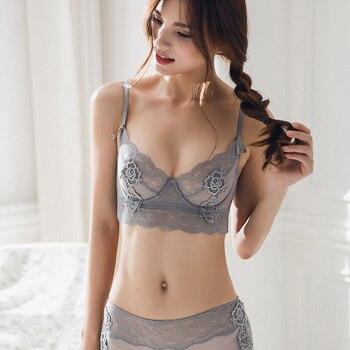 New Ultra Thin Cup Lingerie Bra Set Underwear Transparent Temptation Sexy Underwear Set For Women High Waist Bra & Brief Set 2