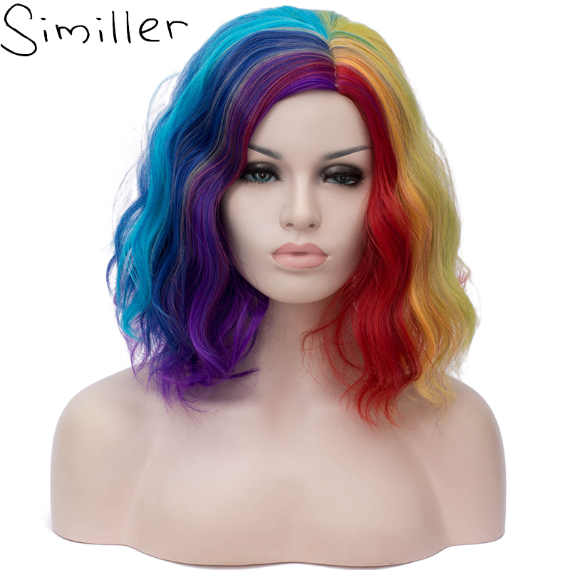 Similler Short Bob Kinky Curly Wig For Women Cosplay Halloween Colorful Rainbow Wigs Heat Resistant Fiber 3 Styles