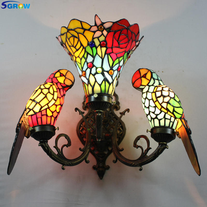 SGROW Stained Glass Parrot Wall Lamp 3 Heads Tiffany Desk Lights Indoor Lighting Fixture for Bedroom Living Room Art Sconce Wall