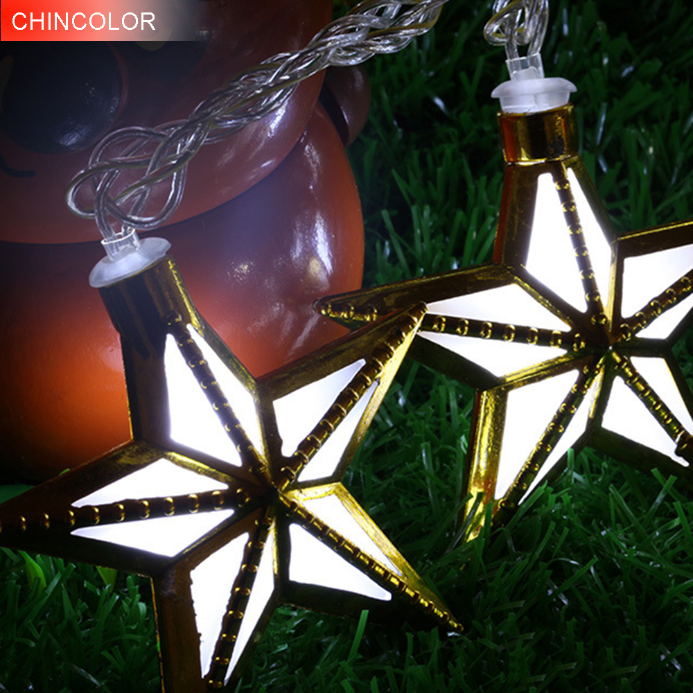 5M 20leds Holiday lights Five-pointed star Led Light string EU Plug Xmas christmas Garland fairy wedding Decoration new DA