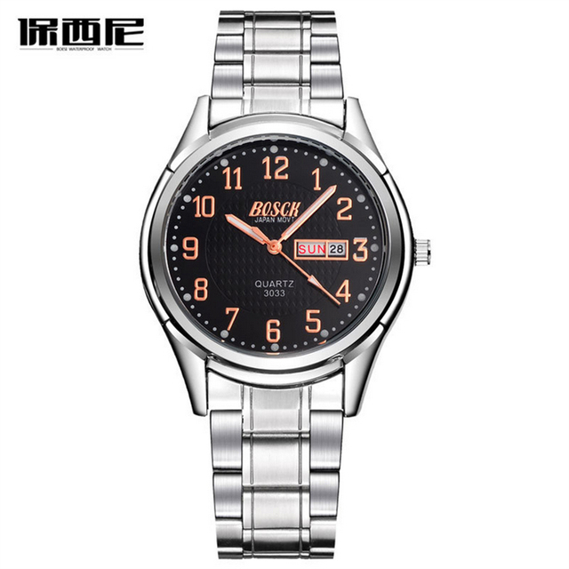 2016 BOSCK Mens Watches Top Brand Luxury Quartz Watch Men Fashion Business Full steel Watches Male Wristwatch Relogio Masculino