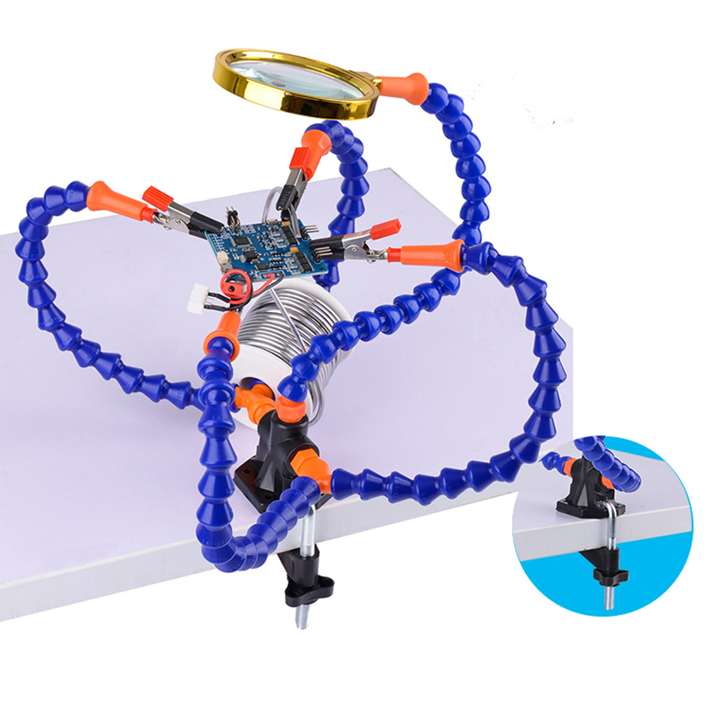 Multifunctional Soldering Station Third Hand Tool With 3/5 Flexible Arms Soldeirng Iron Holder Fan For PCB Welding Repair